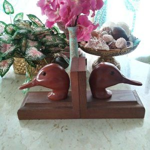 Other - Pair Of Wooden Duck Head Decoy Book Ends